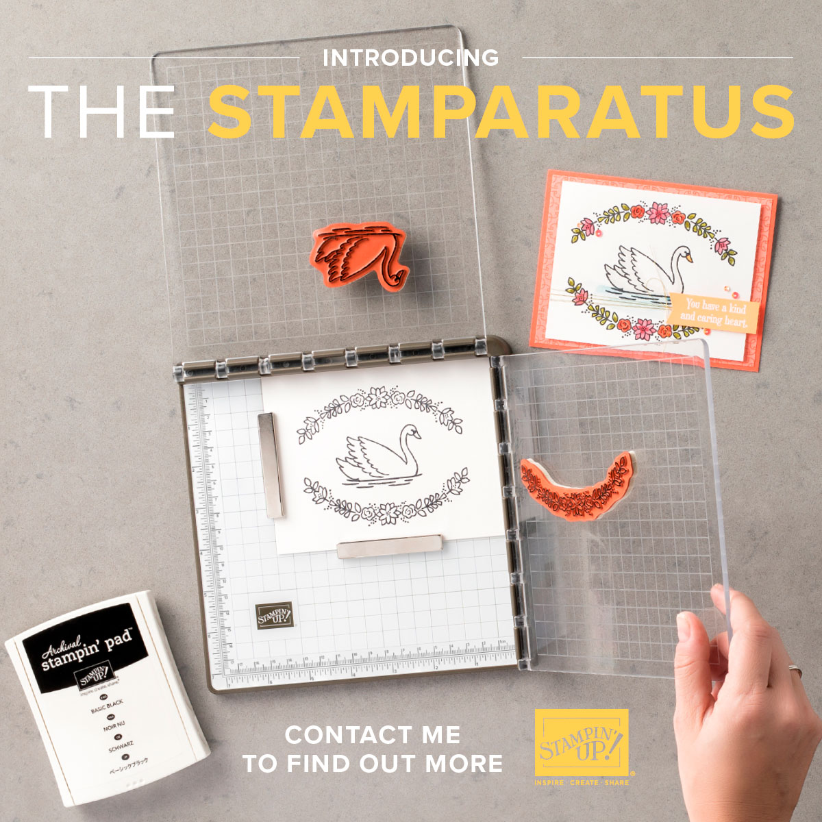 The Stampin' Up! Stamparatus stamp positioning tool is coming, reserve yours today!