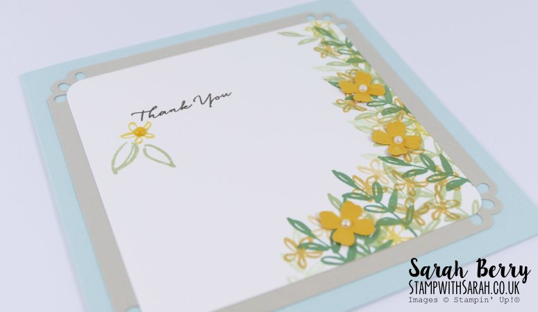 Close up of Thank you card made with the What I Love stamp set #sabfarewell2016 #stampwithsarah