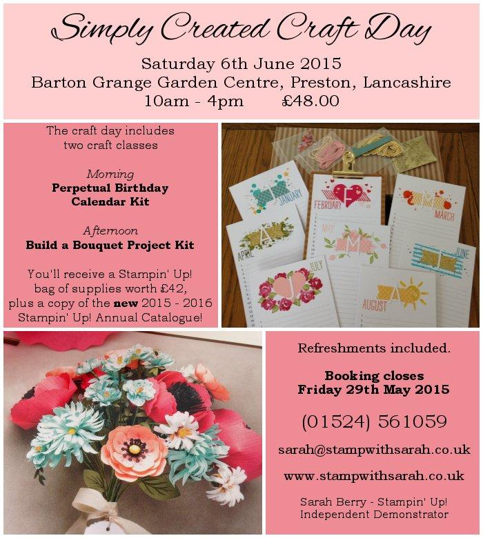 Stamp with Sarah Berry Stampin Up UK Barton Grange Garden Centre Craft Class 6th June 2015